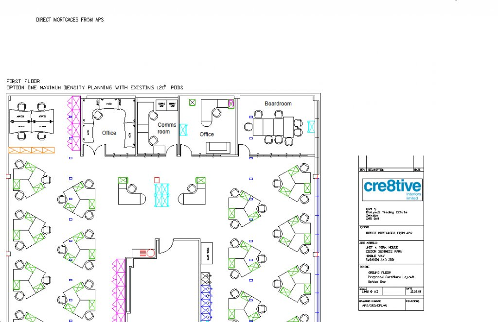 Office layout for APS Mortgages Swindon