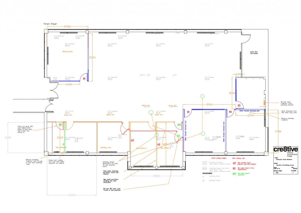 Design work to show upstairs plan