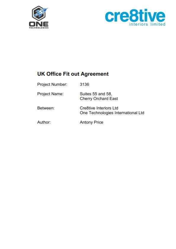 One Tech fit out agreement