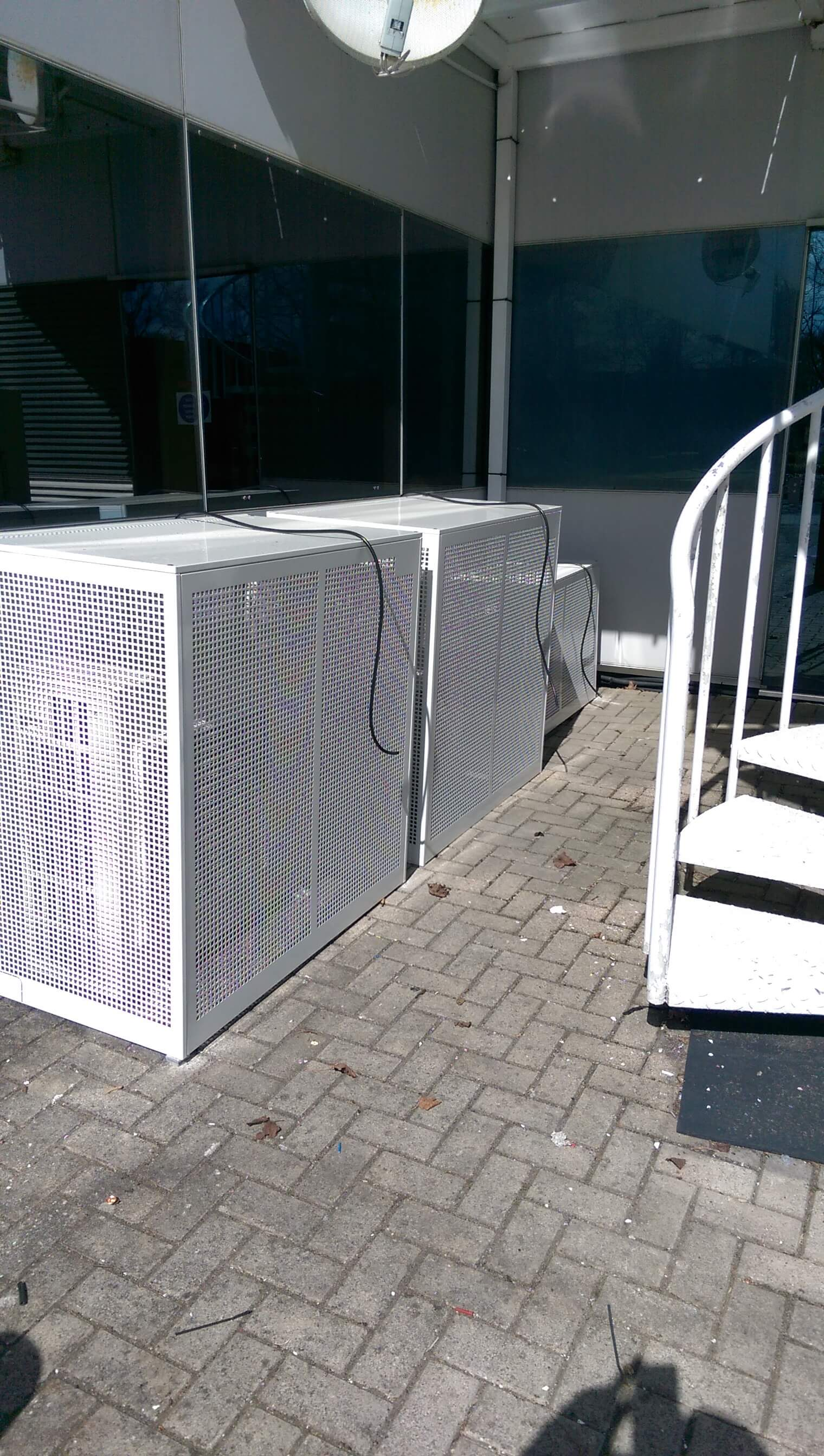 Air conditioning outdoor cages for security.