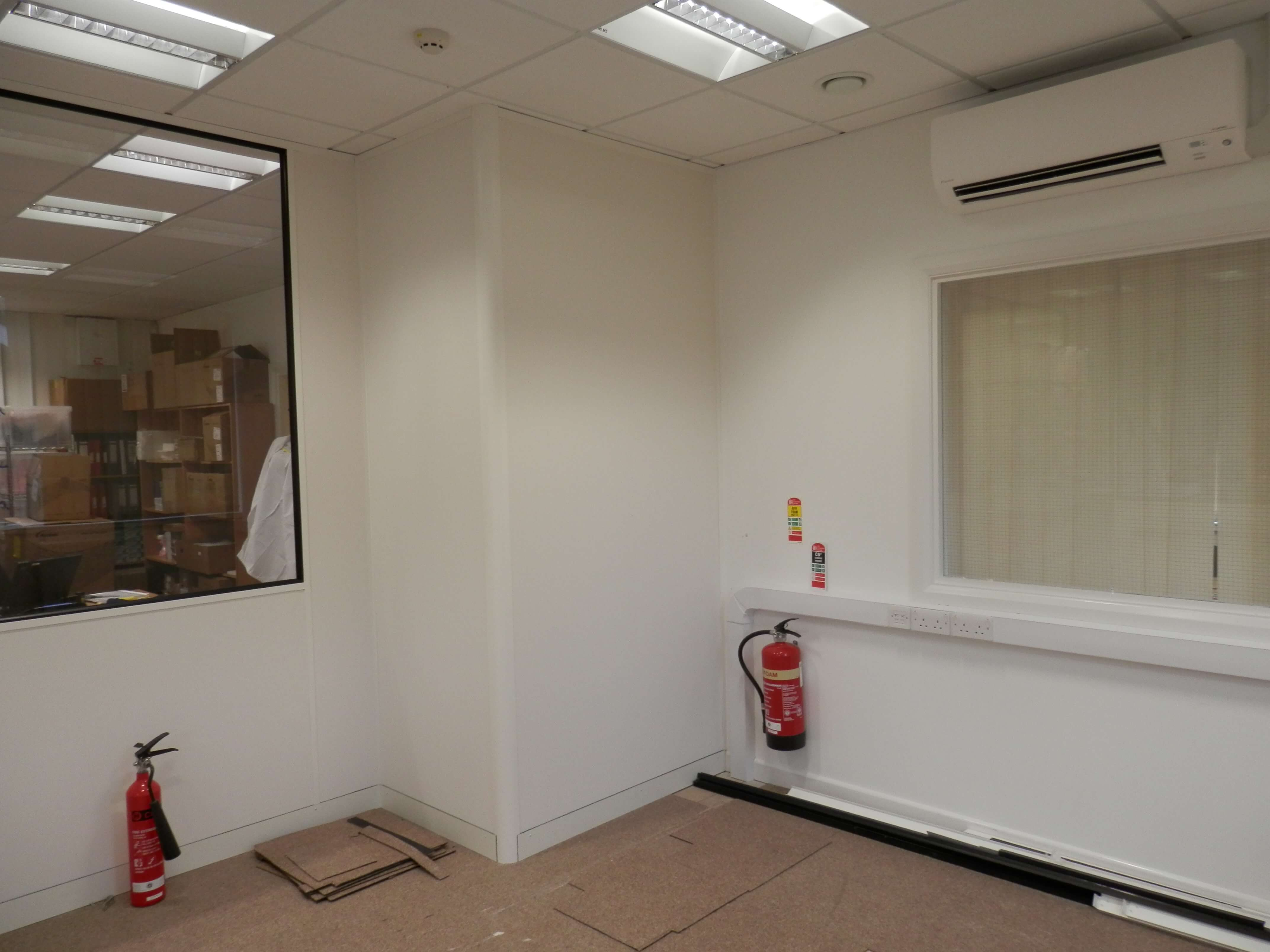 Wider view of new corner position and trunking.