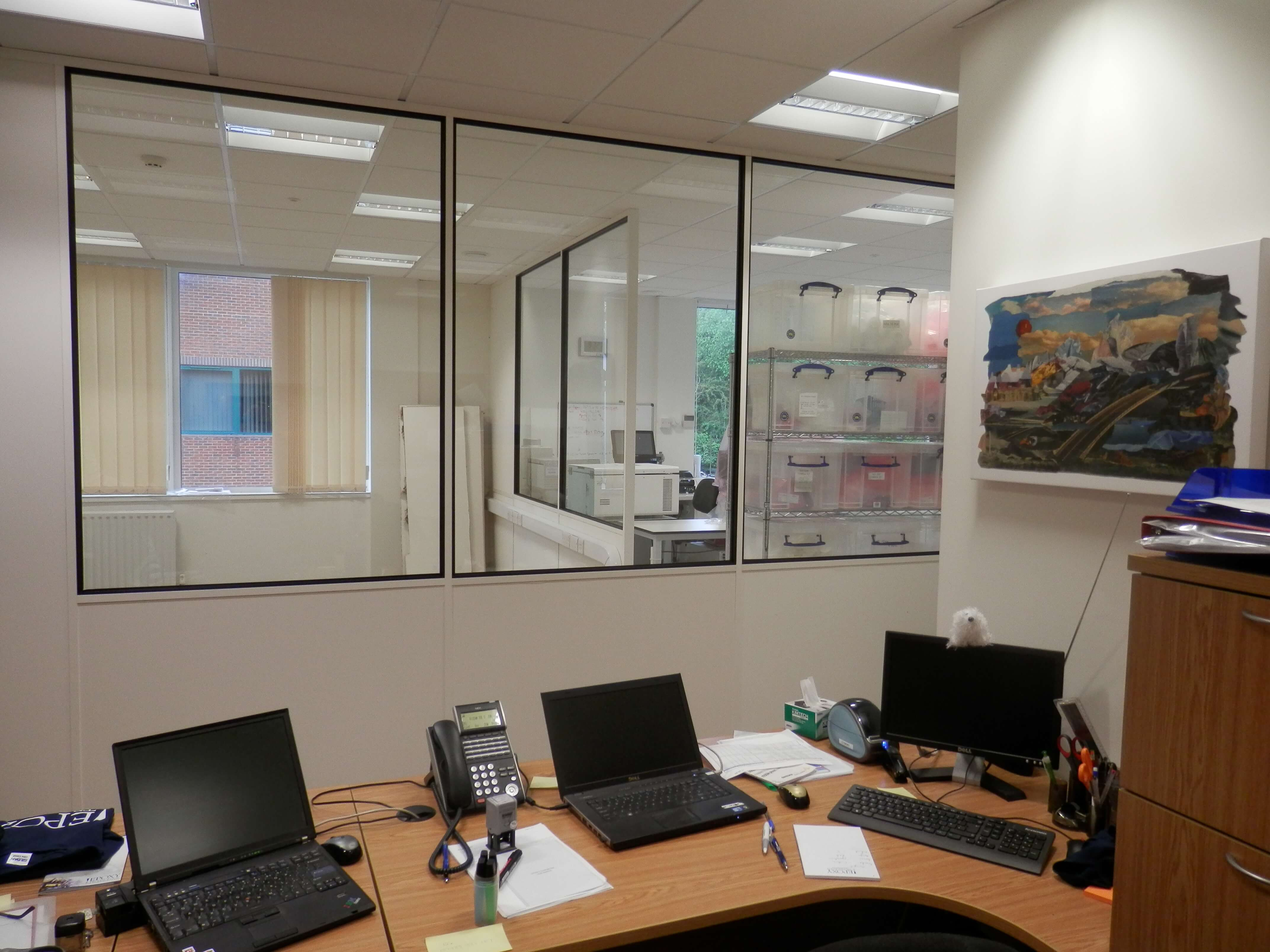 View of new wall from inside the office area.