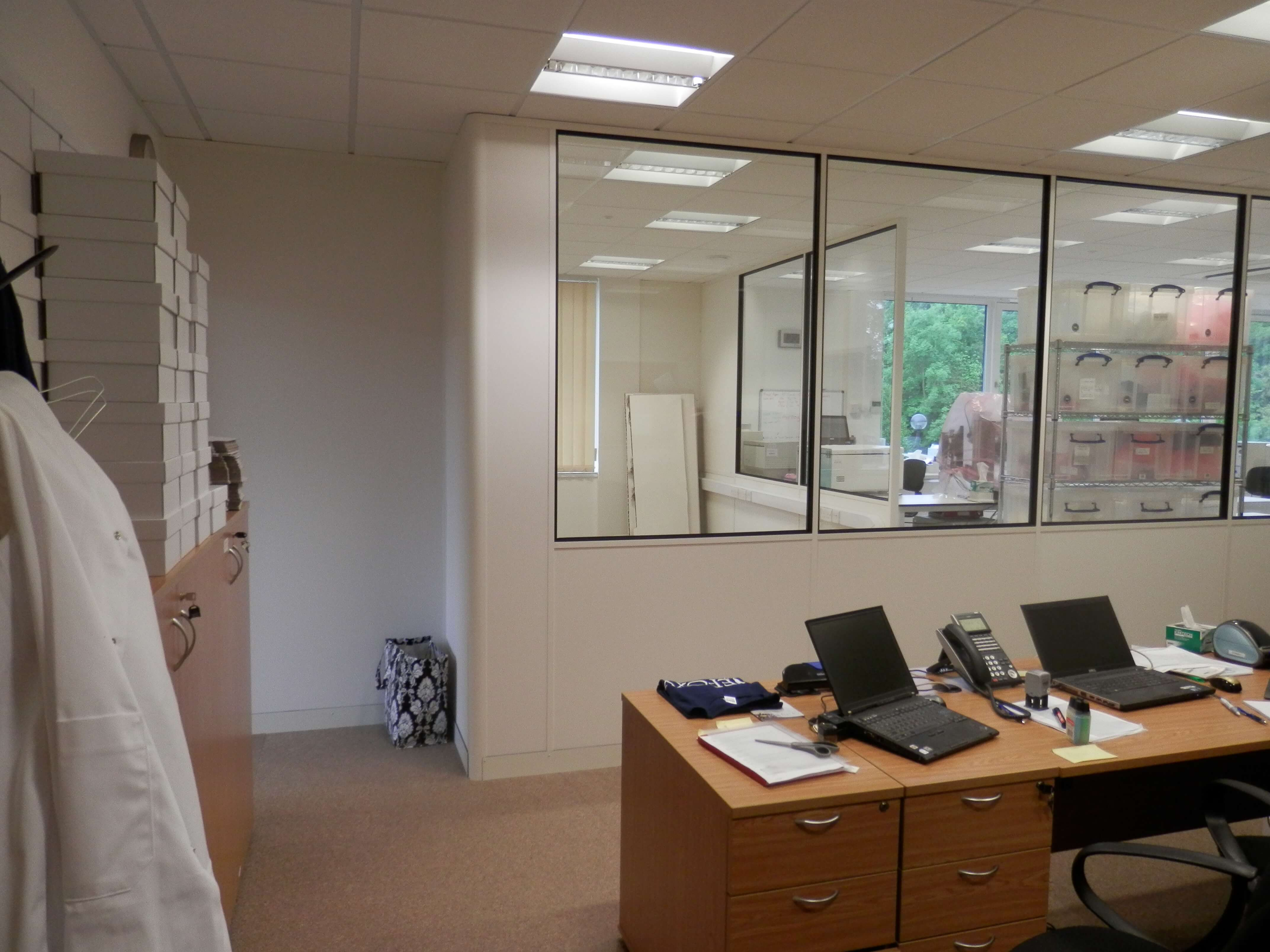 Wider view of office partitioning corner.