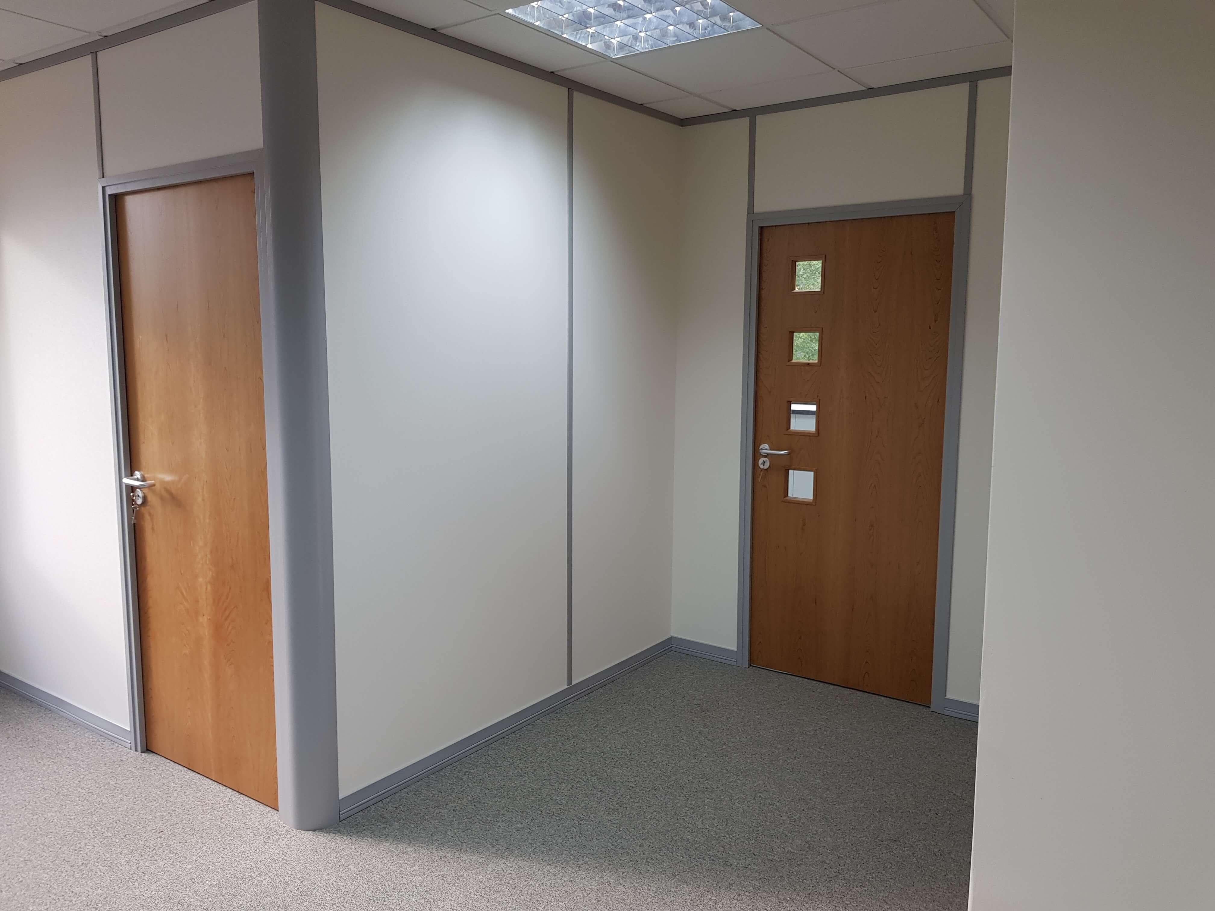 Finished server room and kitchen entrance