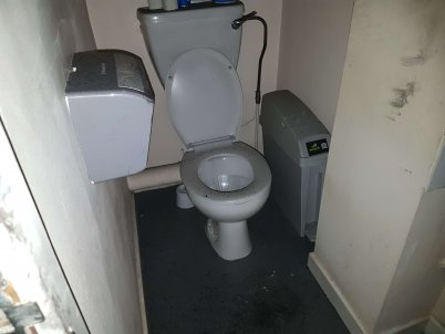 The second toilet was more smoke damaged than fire damaged.
