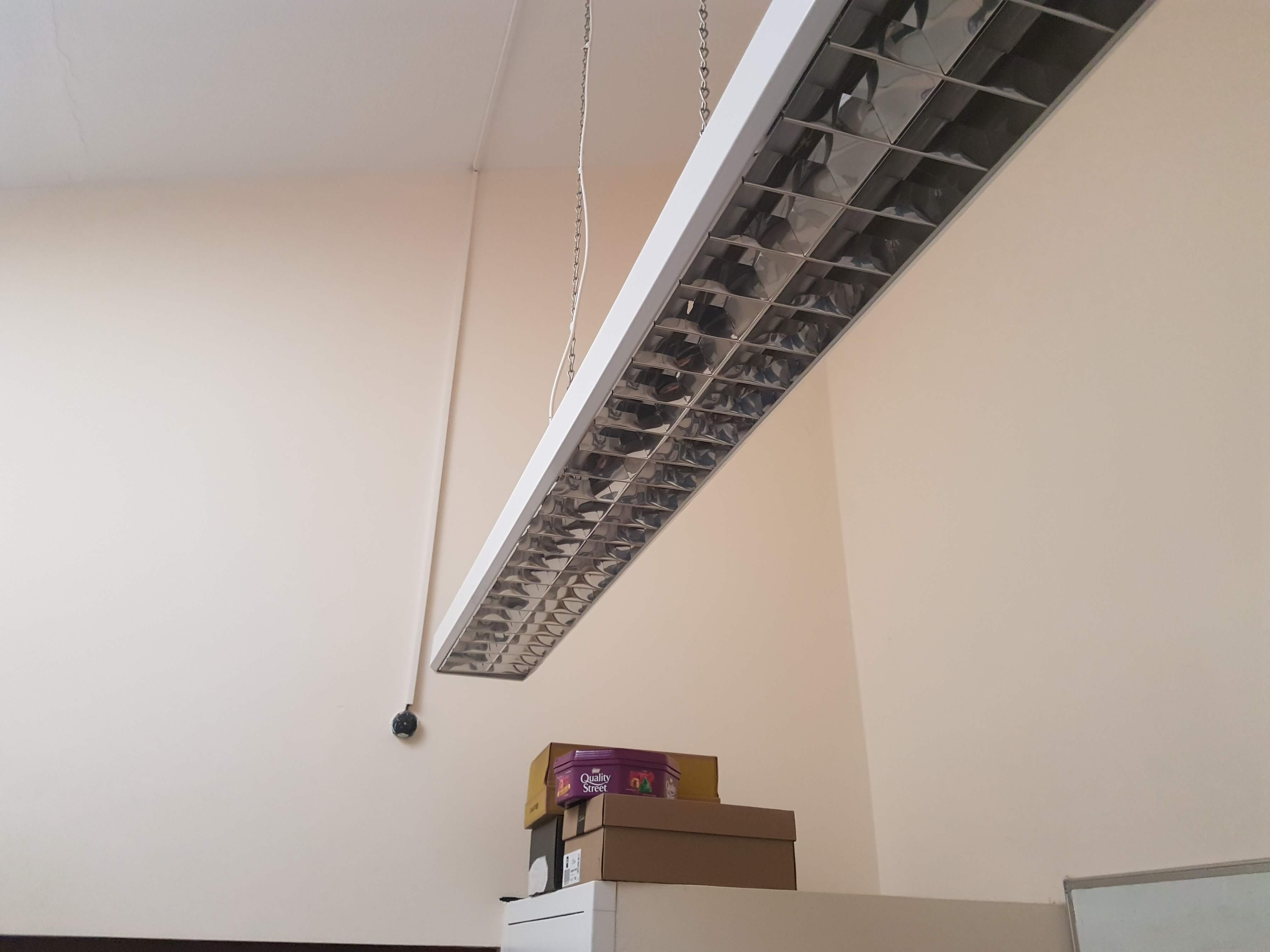 Very high ceiling before suspended ceiling installed by Cre8tive Interiors