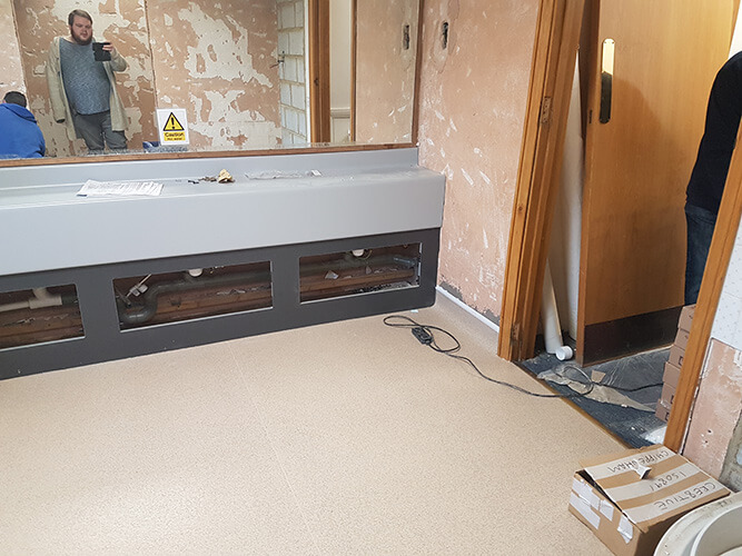 Vanity unit in place ready for the sink installation.