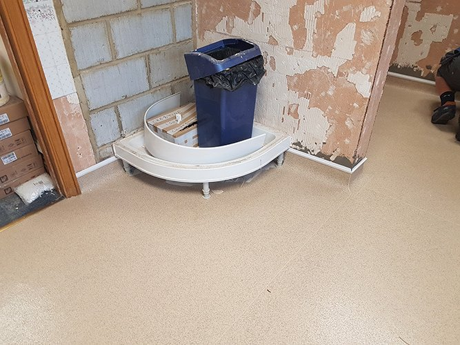 Shower tray in place ready for the wall tiling.