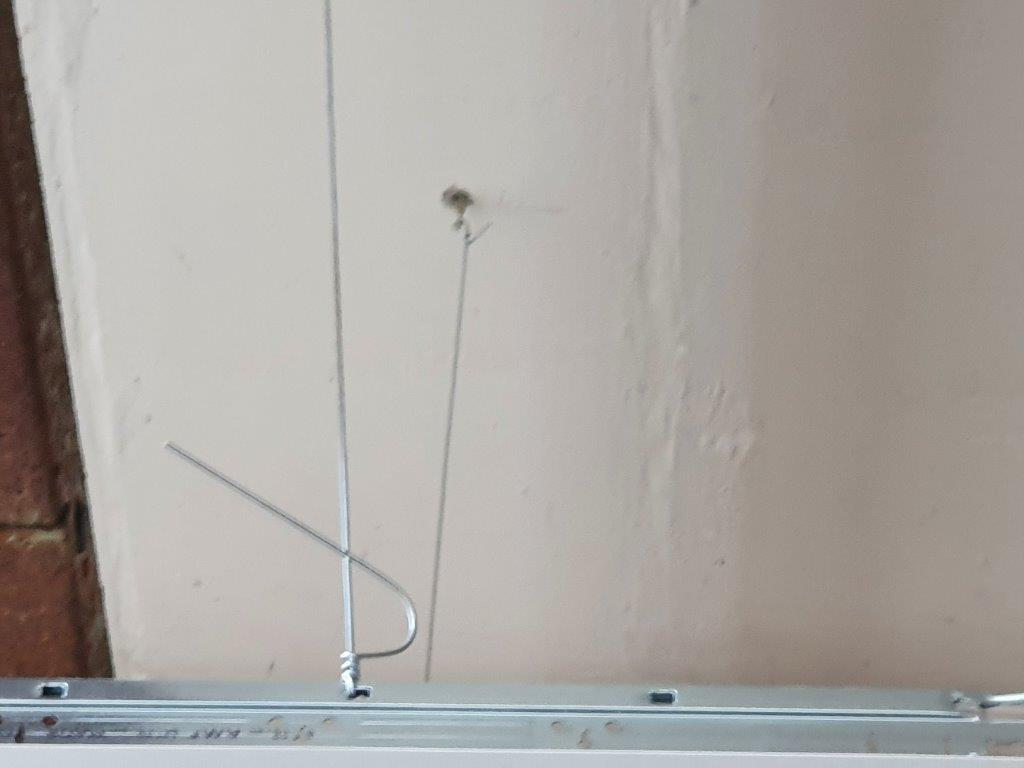 Ceiling grid supported by tensioned wire